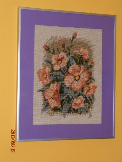 Kwiaty -wełna dmc gobelinowy