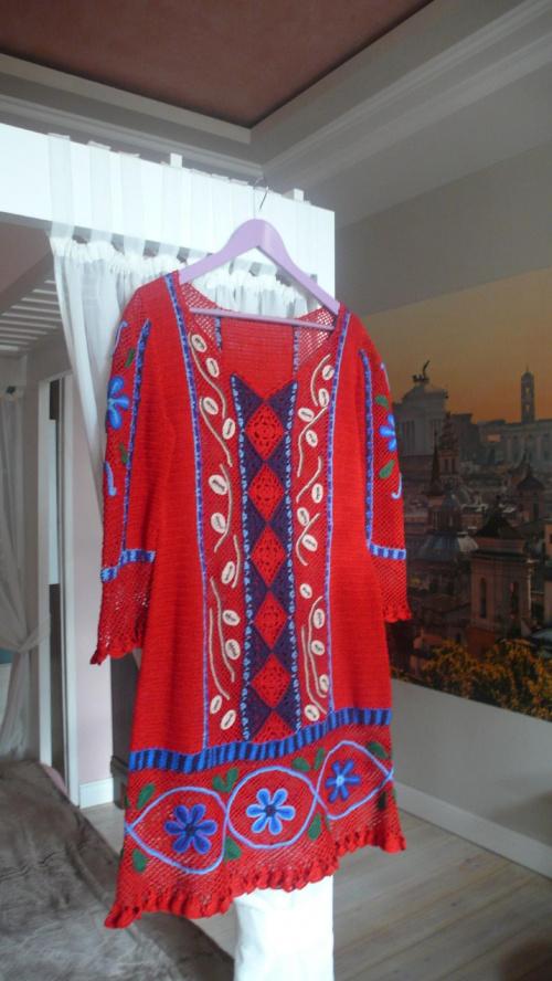 sukienka z bawełny #SukienkaNaSzydełku #SukienkaZKordonka
