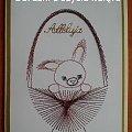 Obrazki z szycia wzięte - na podstawie wzoru ze stitchingcards.com #HaftMatematyczny #ObrazkiZSzyciaWzięte #wielkanoc #KartkiNaWielkanoc #zając #zajączek #królik #króliczek #kosz #koszyk
